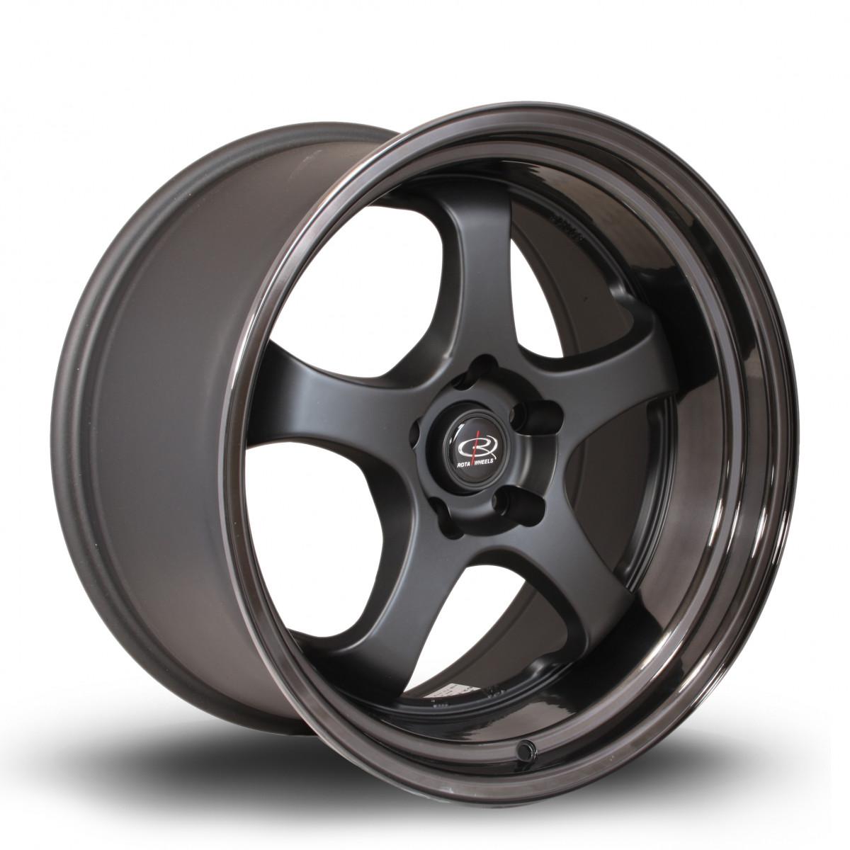 D2EX 18x10 5x114 ET12 Flat Black with Gloss Black Lip
