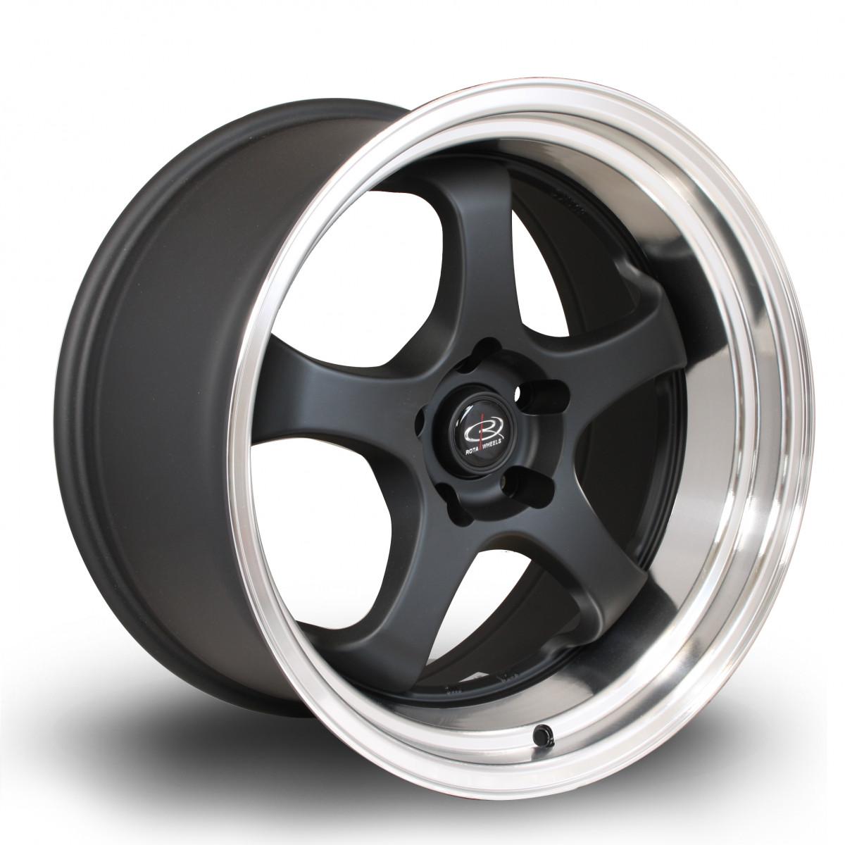 D2EX 18x9.5 5x114 ET12 Flat Black with Polished Lip