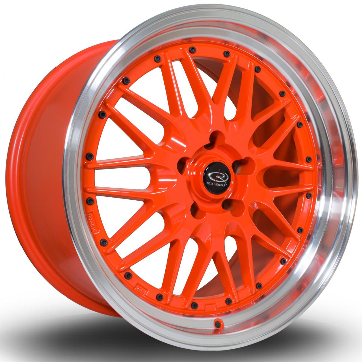 Kensei 18x10 5x114 ET22 Orange with Polished Lip