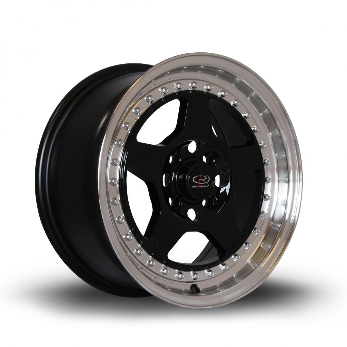 Kyusha 15x7 4x100 ET38 Black with Polished Lip