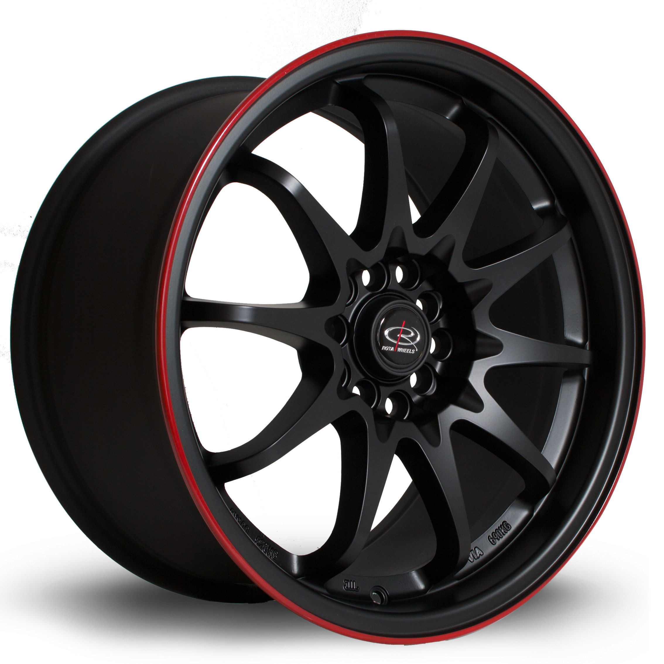 Fight 17x9 5x114 ET35 Flat Black with Red Lip