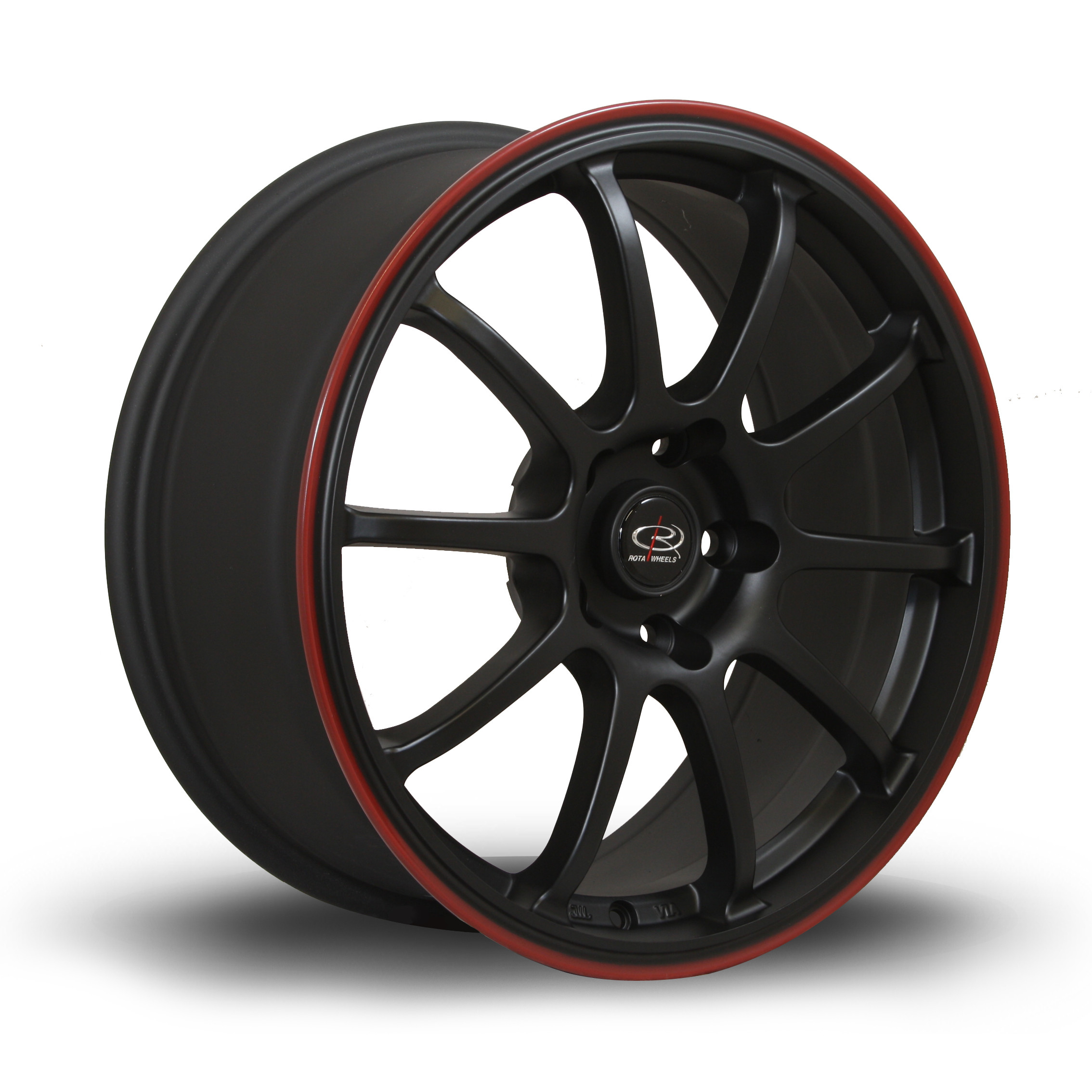 Force 17x8 5x114 ET35 Flat Black with Red Lip