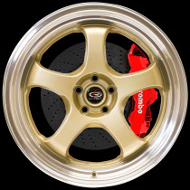 D2EX 18x9.5 5x100 ET38 Gold with Polished Lip