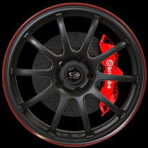 Force 17x8 5x100 ET35 Flat Black with Red Lip