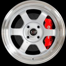 Grid-V 15x8 4x114 ET0 Silver with Polished Lip