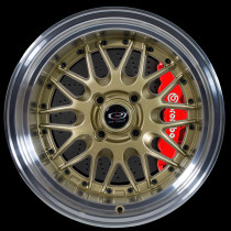 Kensei 15x9 4x100 ET0 Gold with Polished Lip