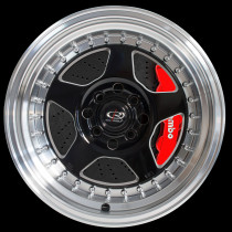 Kyusha 15x9 4x100 ET0 Black with Polished Lip