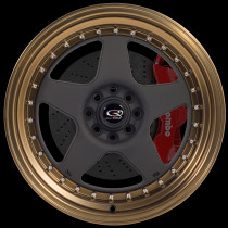 Kyusha 17x9 4x100 ET20 Flat Black with Speed Bronze Lip