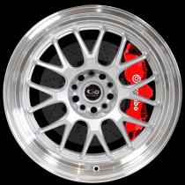 MXR 18x9.5 5x100 ET38 Silver with Polished Lip