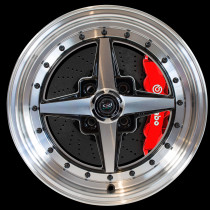 Zero 15x7 4x100 ET35 Gloss Black with Polished Face