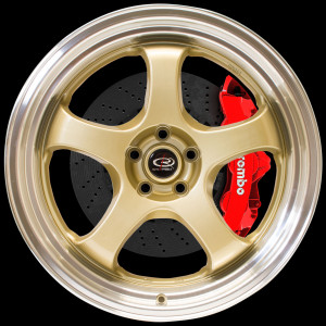 D2EX 18x9.5 5x114 ET12 Gold with Polished Lip
