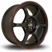 Boost 16x7 4x100 ET45 Flat Black with Red Lip