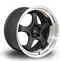 D2EX 18x9.5 5x114 ET12 Flat Black with Polished Lip