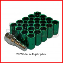 M12x1.25 Green Tuner Nuts 60 Degree Taper