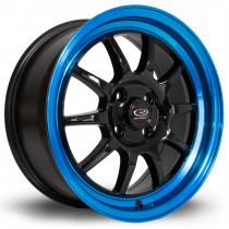 GT3 16x7 4x100 ET40 Black with Candy Blue Lip