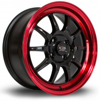 GT3 16x7 4x100 ET40 Gloss Black with Candy Red Lip