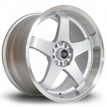 GTR-D 18x9.5 5x114 ET12 Silver with Polished Lip