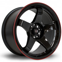 GTR 17x9.5 5x114 ET30 Gloss Black with Red Lip