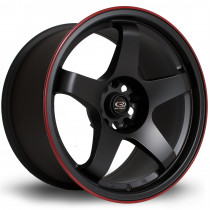 GTR 17x9.5 5x114 ET30 Flat Black with Red Lip