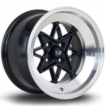 Hachi 15x9 4x114 ET0 Black with Polished Lip