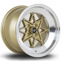 Hachi 15x9 4x114 ET0 Gold with Polished Lip