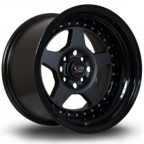 Kyusha 15x9 4x100 ET0 Flat Gunmetal with Gloss Black Lip