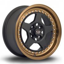 Kyusha 15x7 4x100 ET38 Flat Black with Speed Bronze Lip