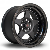 Kyusha 15x8 4x114 ET0 Flat Black with Gloss Black Lip