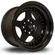 Kyusha 15x9 4x114 ET0 Flat Black with Gloss Black Lip