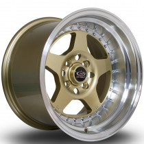 Kyusha 15x9 4x100 ET0 Gold with Polished Lip