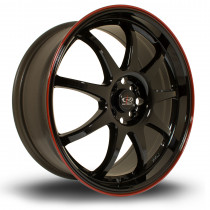 P1 18x7.5 4x100 ET45 Gloss Black with Red Lip