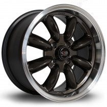 RB 15x8 4x100 ET30 Gunmetal with Polished Lip
