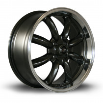 RB 17x7.5 4x100 ET45 Gunmetal with Polished Lip