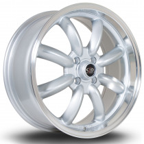 RB 17x7.5 4x100 ET45 Silver with Polished Lip