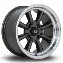 RKR 15x8 4x100 ET10 Flat Gunmetal with Polished Lip