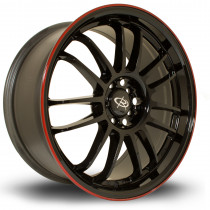 SVN 18x8.5 5x100 ET48 Gloss Black with Red Lip