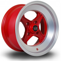 X04 15x8 4x114 ET0 Matte Red with Matte Polished Lip