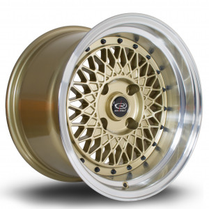 Wired 15x9 4x114 ET0 Gold with Polished Lip