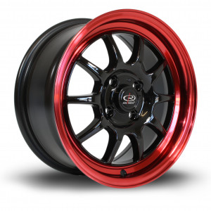 GT3 15x7 4x100 ET40 Gloss Black with Candy Red Lip