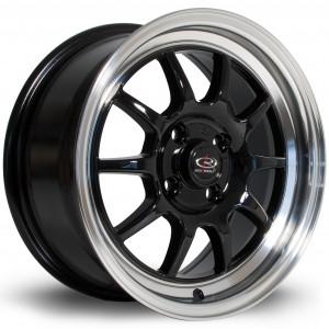 GT3 15x7 4x100 ET40 Black with Polished Lip