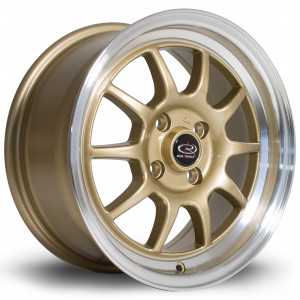 GT3 15x7 4x100 ET40 Gold with Polished Lip