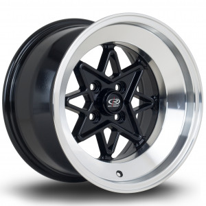 Hachi 15x9 4x100 ET0 Black with Polished Lip