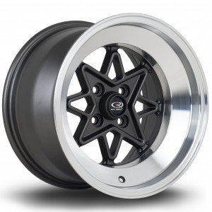 Hachi 15x9 4x100 ET0 Flat Gunmetal with Polished Lip