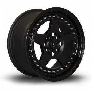 Kyusha 15x7 4x100 ET38 Flat Black with Gloss Black Lip