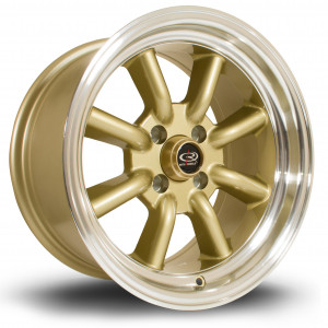 RKR 15x8 4x100 ET0 Gold with Polished Lip